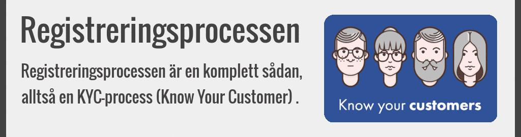 Registreringsprocessen är en komplett sådan, alltså en KYC-process (Know Your Customer).